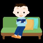 ソファで読書する男の子のイラスト
