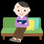 ソファで本を読む中年の女性のイラスト