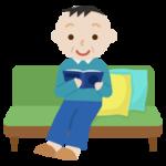 ソファで本を読む中年の男性のイラスト