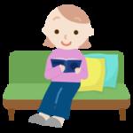 ソファで読書する若い女性のイラスト