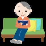 ソファで読書する高齢者の女性のイラスト