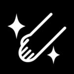 手洗いのアイコンイラスト(丸・白黒)