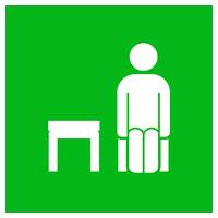 席を一つ空けて座るアイコンイラスト(丸)