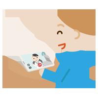若い男性が女性の医者とビデオ電話しているイラスト1