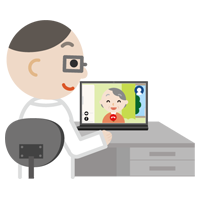 高齢者の女性とビデオ電話している男性の医者のイラスト