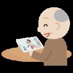 高齢者の男性が男性の医者とビデオ電話しているイラスト1