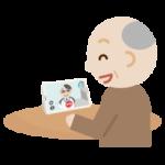 高齢者の男性が男性の医者とビデオ電話しているイラスト2