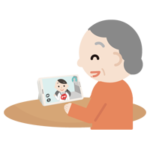 高齢者の女性が女性の医者とビデオ電話しているイラスト2
