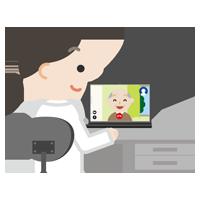 高齢者の男性とビデオ電話している女性の医者のイラスト