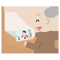 高齢者の男性が女性の医者とビデオ電話しているイラスト2