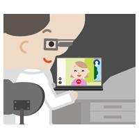 若い女性とビデオ電話している男性医師のイラスト
