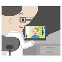 若い男性とビデオ電話している男性医師のイラスト