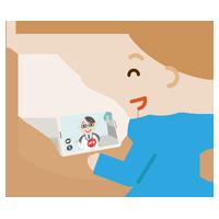 若い男性が男性医者とビデオ電話しているイラスト2