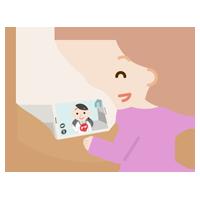若い女性が女性の医者とビデオ電話しているイラスト2