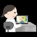 若い男性とビデオ電話している女性医師のイラスト