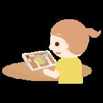 女の子がレシピ動画を見るイラスト