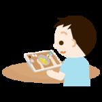 男の子がレシピ動画を見るイラスト