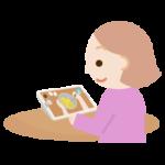 若い女性がレシピ動画を見るイラスト