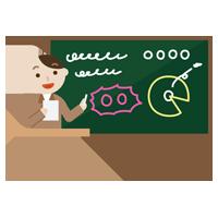 黒板で授業をする若い男性のイラスト