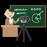 黒板で授業をする若い男性を撮影するイラスト