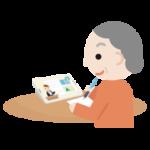オンライン授業を受ける高齢者の女性のイラスト1
