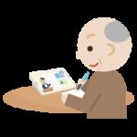 オンライン授業を受ける高齢者の男性のイラスト2