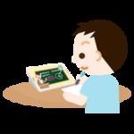 オンライン授業を受ける男の子のイラスト2