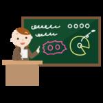 黒板で授業をする若い女性のイラスト