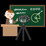 黒板で授業をする若い女性を撮影するイラスト
