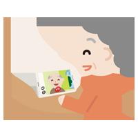 テレビ電話をする高齢者の女性のイラスト