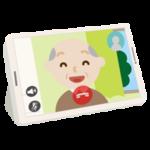 高齢者の男性とのテレビ電話画面のイラスト