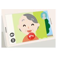 高齢者の女性とのテレビ電話画面のイラスト