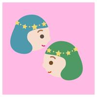 双子座の丸いアイコンイラスト(12星座)