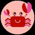 蟹座の丸いアイコンイラスト(12星座)