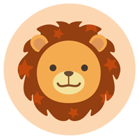 獅子座の丸いアイコンイラスト(12星座)
