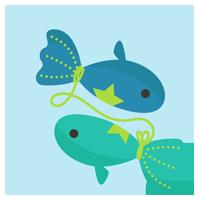 魚座の丸いアイコンイラスト(12星座)