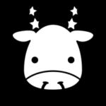 白黒の牡牛座のイラスト(12星座)