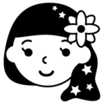 白黒の乙女座のイラスト(12星座)