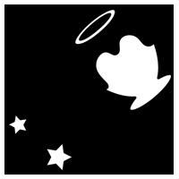 白黒の水瓶座のイラスト(12星座)