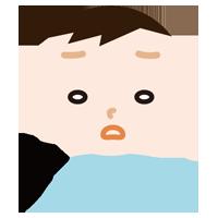 ため息をつく男の子のイラスト