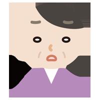 ため息をつく中年の女性のイラスト