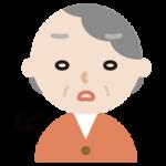 ため息をつく高齢者の女性のイラスト
