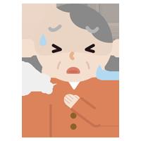 胸を押さえて苦しむ高齢者の女性のイラスト