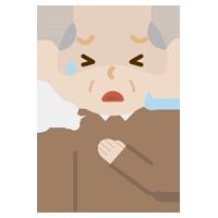 胸を押さえて苦しむ高齢者の男性のイラスト