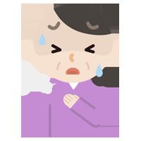 胸を押さえて苦しむ中年の女性のイラスト