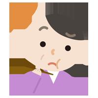 味覚障害の中年の女性のイラスト