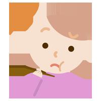 味覚障害の若い女性のイラスト