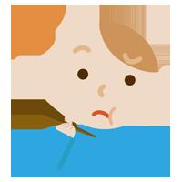 味覚障害の若い男性のイラスト