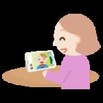 テレビ電話をする若い女性のイラスト