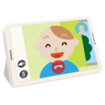 若い男性とのテレビ電話画面のイラスト